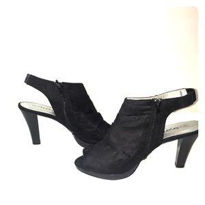 Lane Bryant Black Suede Peep Toe Heels size 11